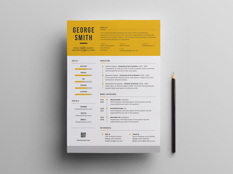 Yellow Cool Resume Template - UpLabs
