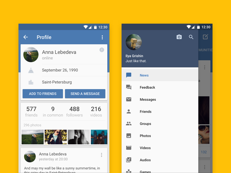 Vk for android redesign uplabs Home design android
