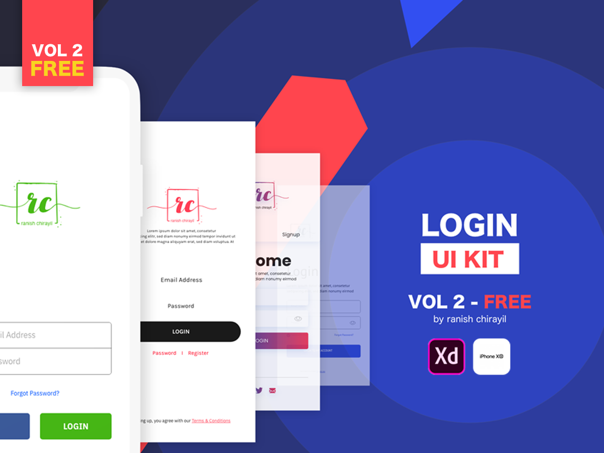 Login UI Kit - Vol 2 FREE for Adobe XD | Search by Muzli