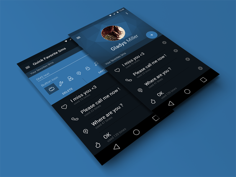 Quick Favorite Sms Widget Material Design Uplabs