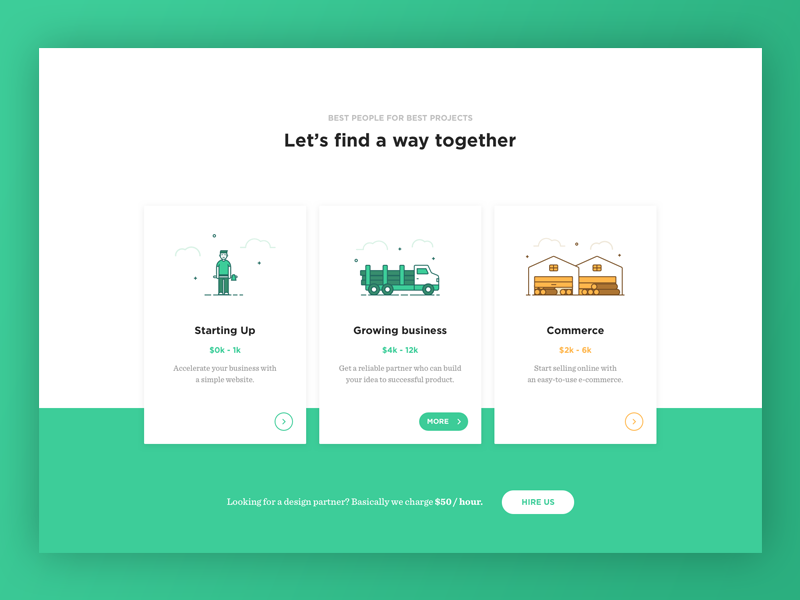 Pricing table illustration uplabs for Web page table design