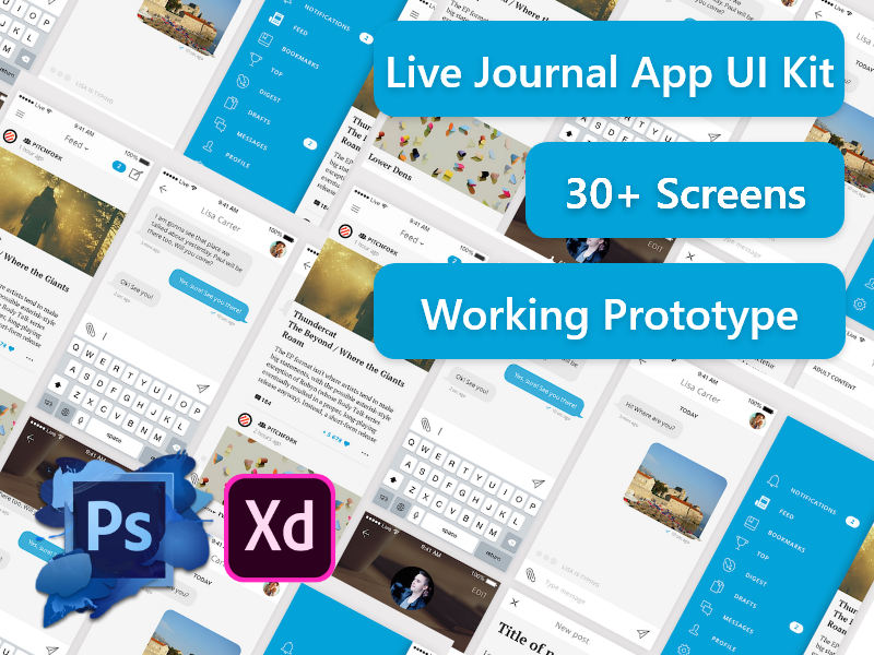 Live Journal App Ui Kit Uplabs