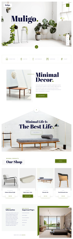 Muligo Minimal Home Decor Website Uplabs