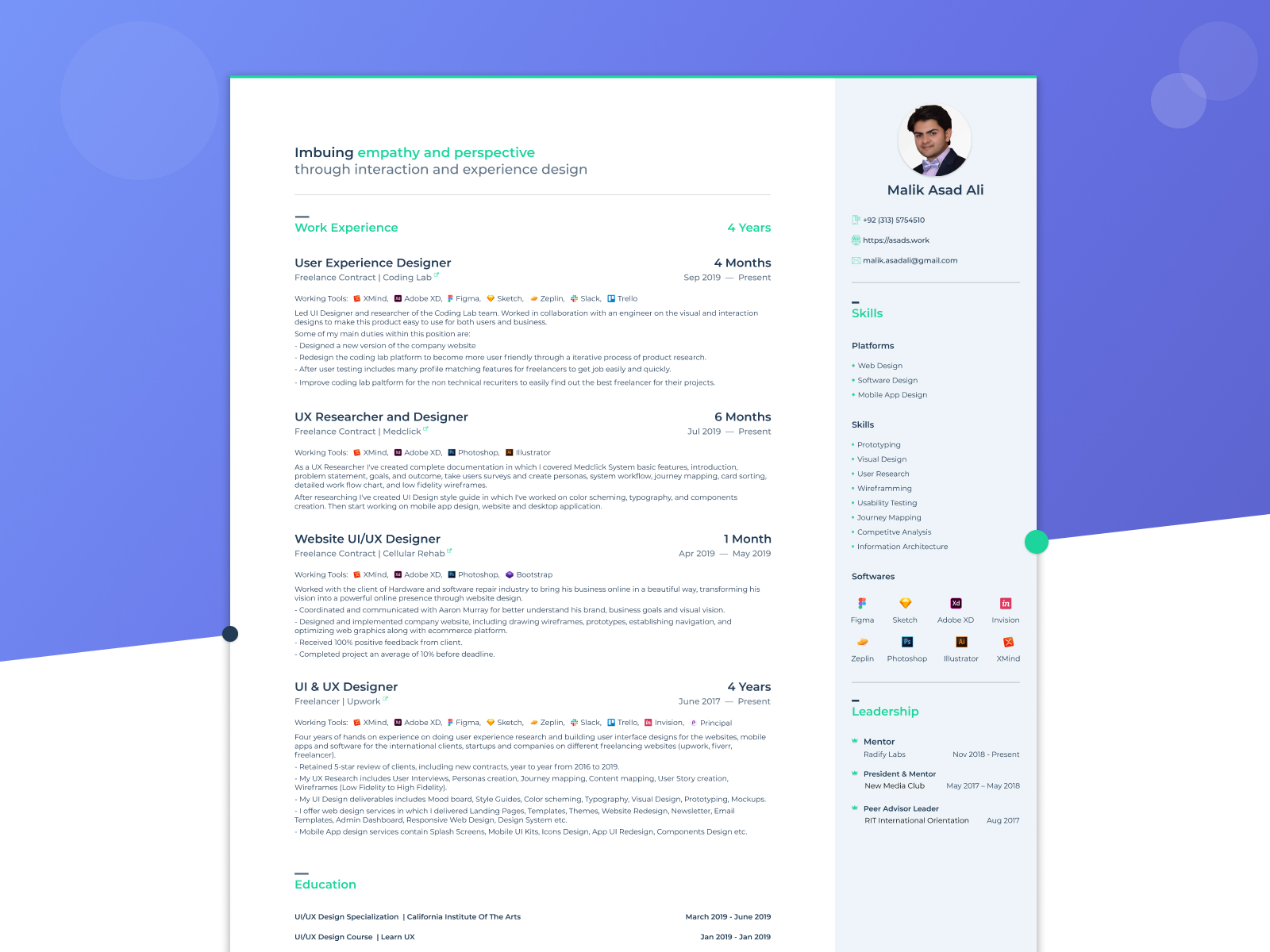 Ui Ux Design Resume Example Search By Muzli