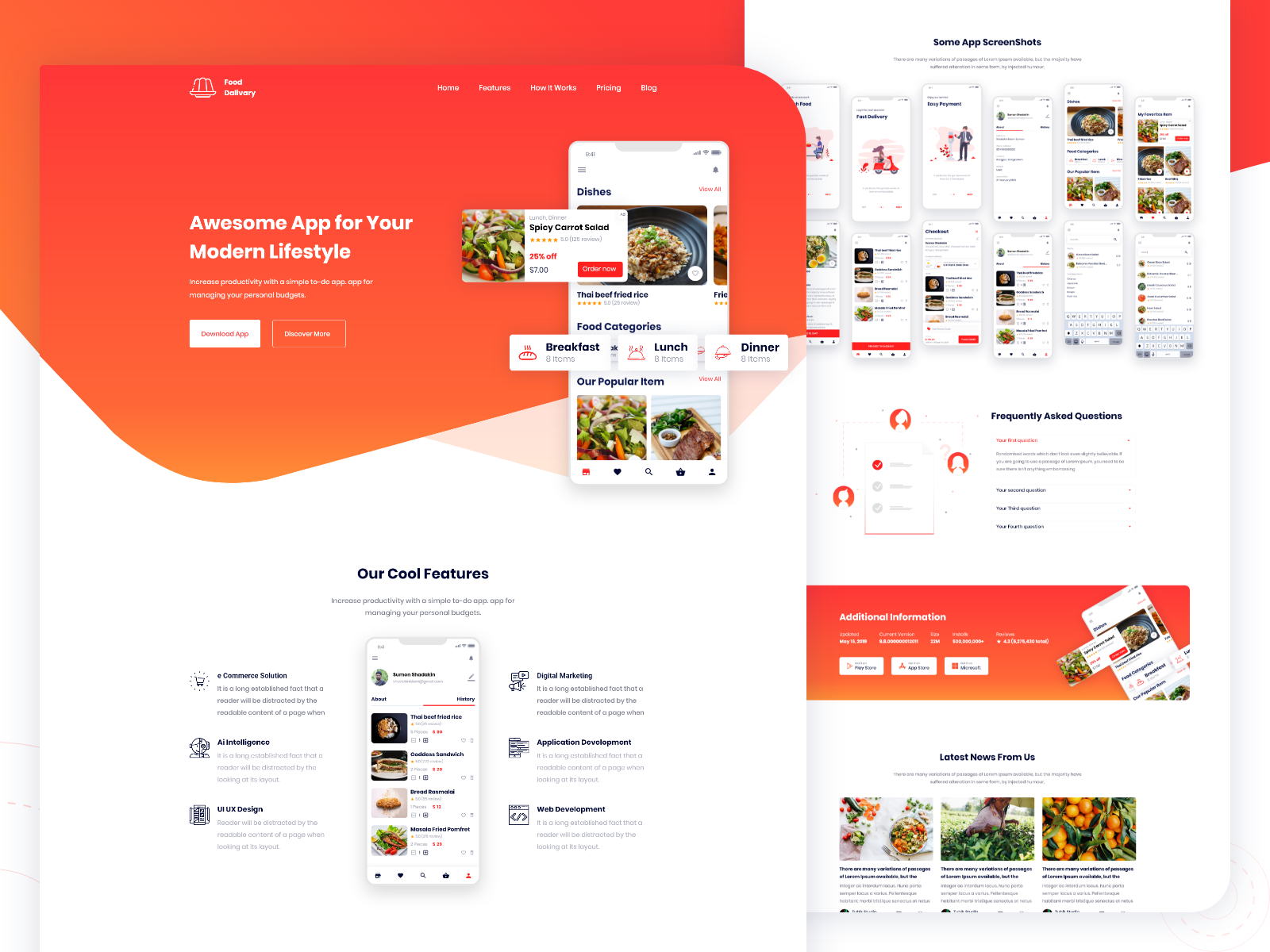 Food Delivery App Landing Page V2 Uplabs