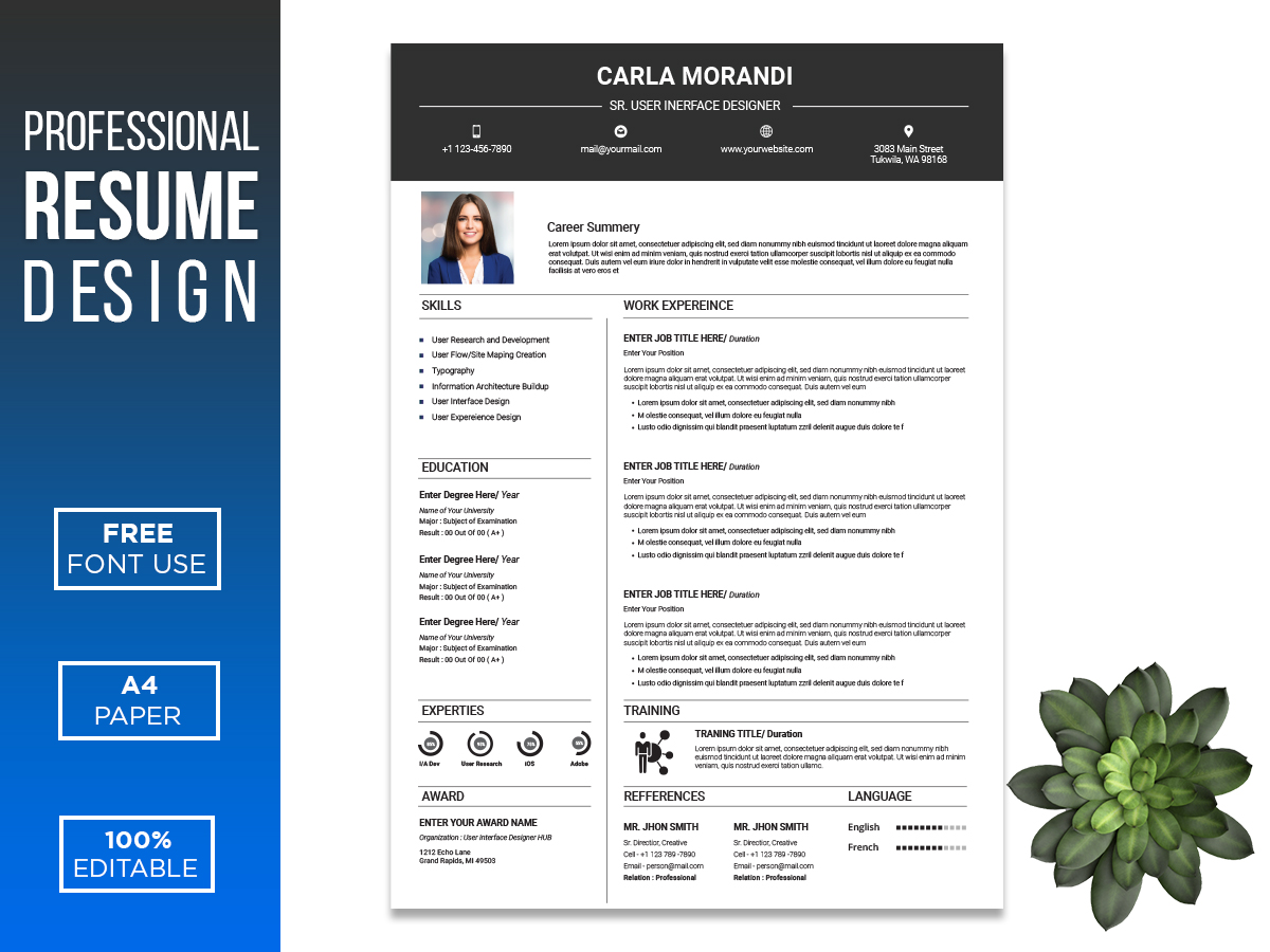 Ui Ux Designer Editable Resume Template Search By Muzli