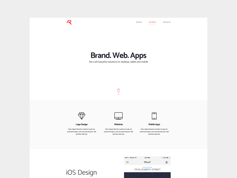 Visual interaction design uplabs for Minimalist living websites