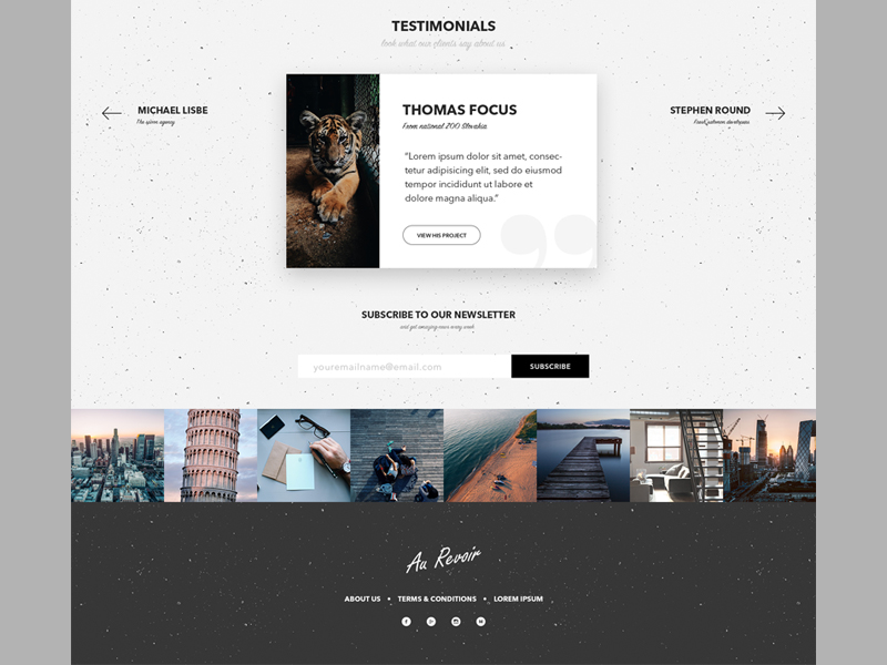 Testimonials section, instagram feed and footer de - Uplabs