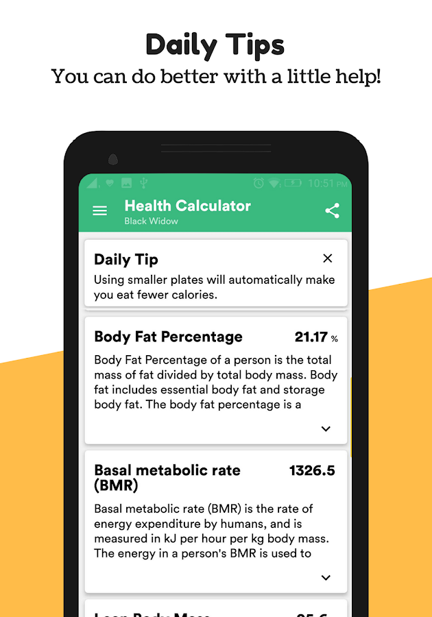 Body Mass Index & Ideal Weight Calculator for Android - UpLabs