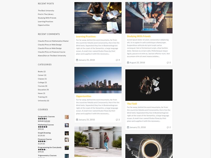 Blog Masonry Left Sidebar - Education WordPress Theme - UpLabs