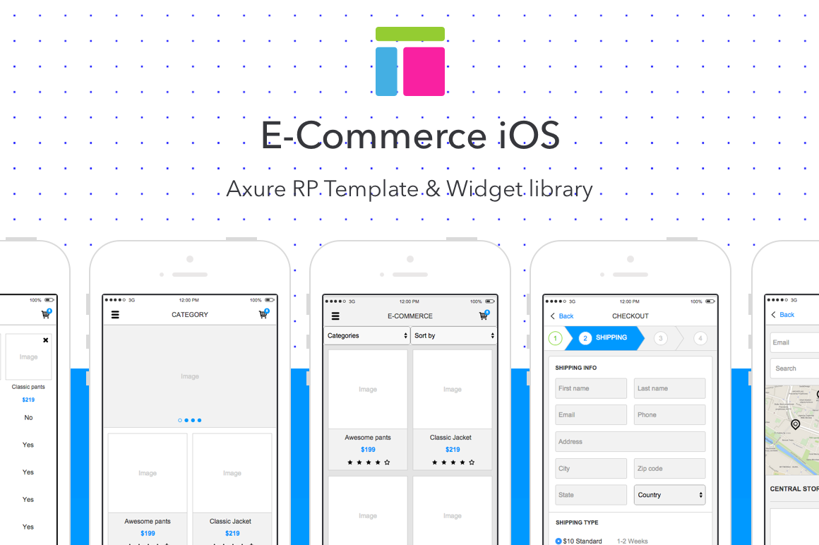 privacy policy template ecommerce - e commerce ios axure rp template uplabs