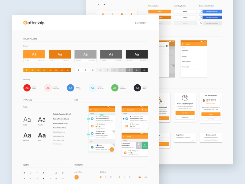 aftership ui style guide