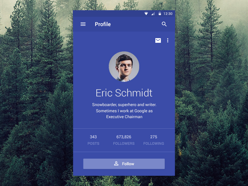 Material Designed Profile App Uplabs