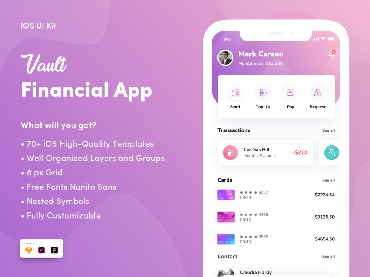 Vault- Financial App UI kit - UpLabs