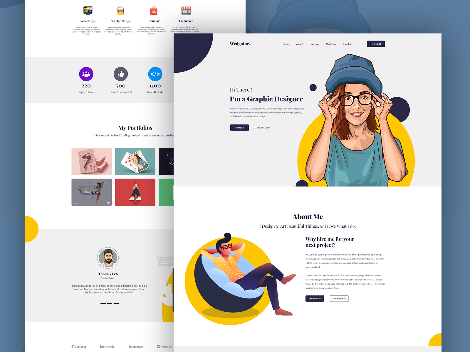 Wedgainer Portfolio Landing Page Web Ui Template Search By Muzli