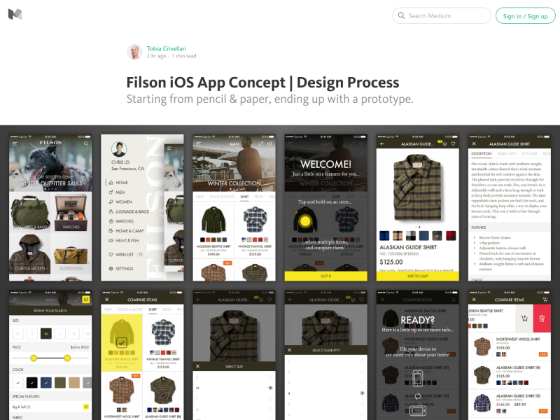 filson ios app concept design process uplabs. Black Bedroom Furniture Sets. Home Design Ideas