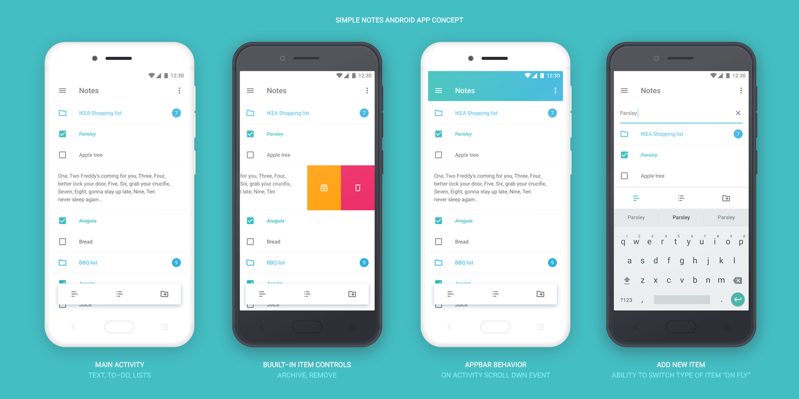 Notes app Android OS UI Kit - UpLabs