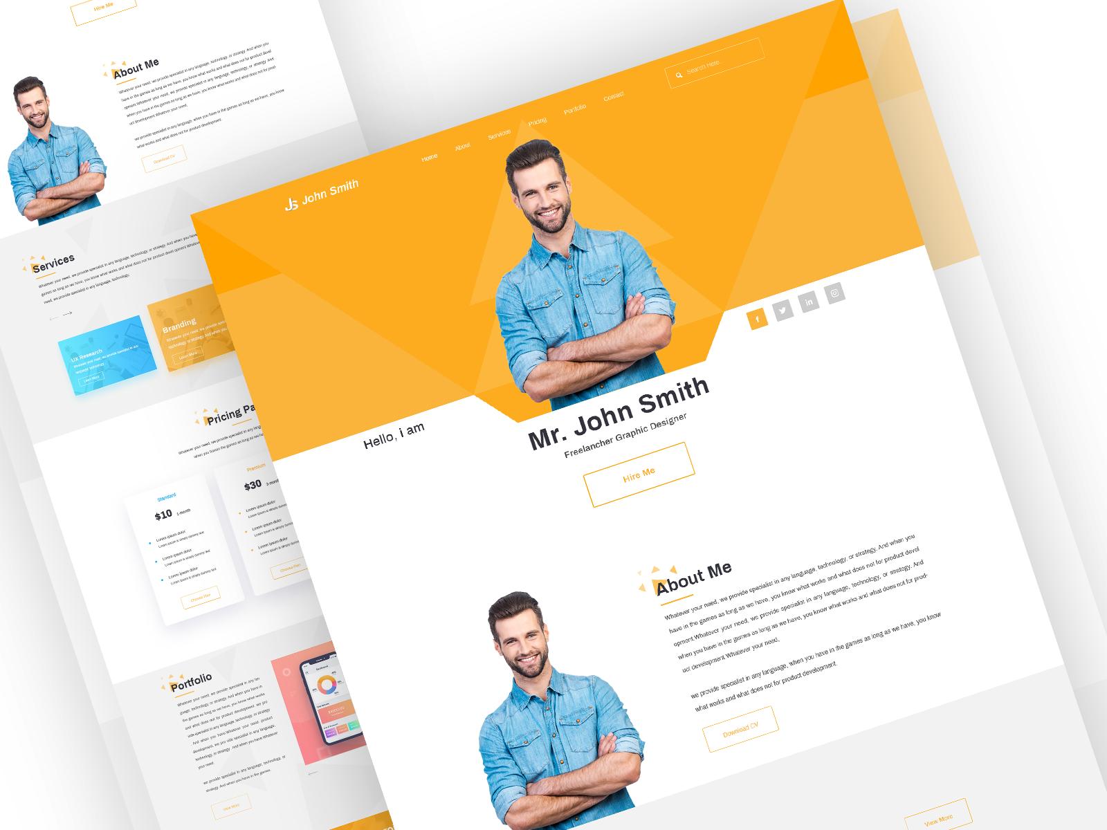 Resume Personal Portfolio Landing Page Uplabs