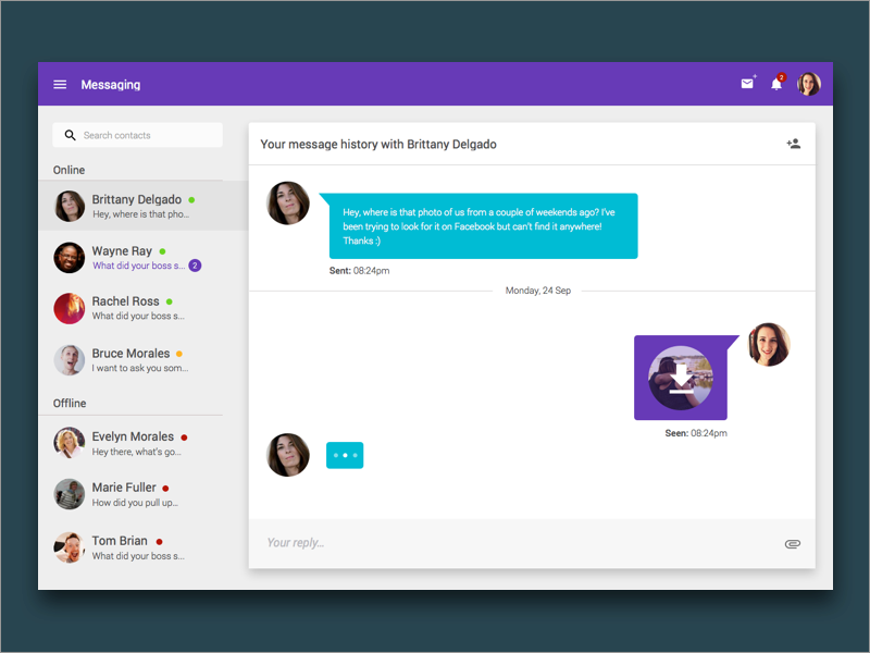 Messaging App Material Design Uplabs