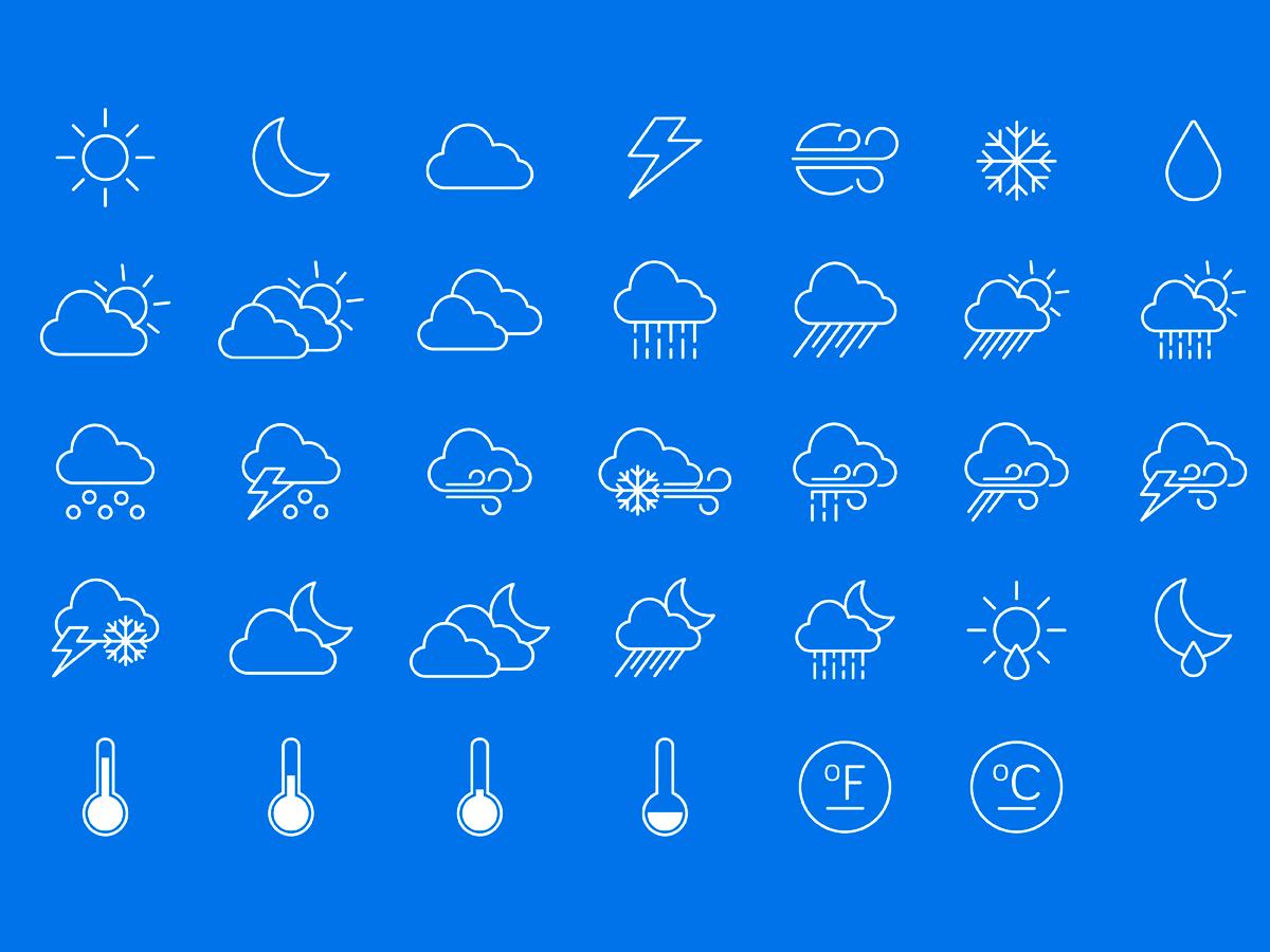 Значки погоды картинки на белом фоне