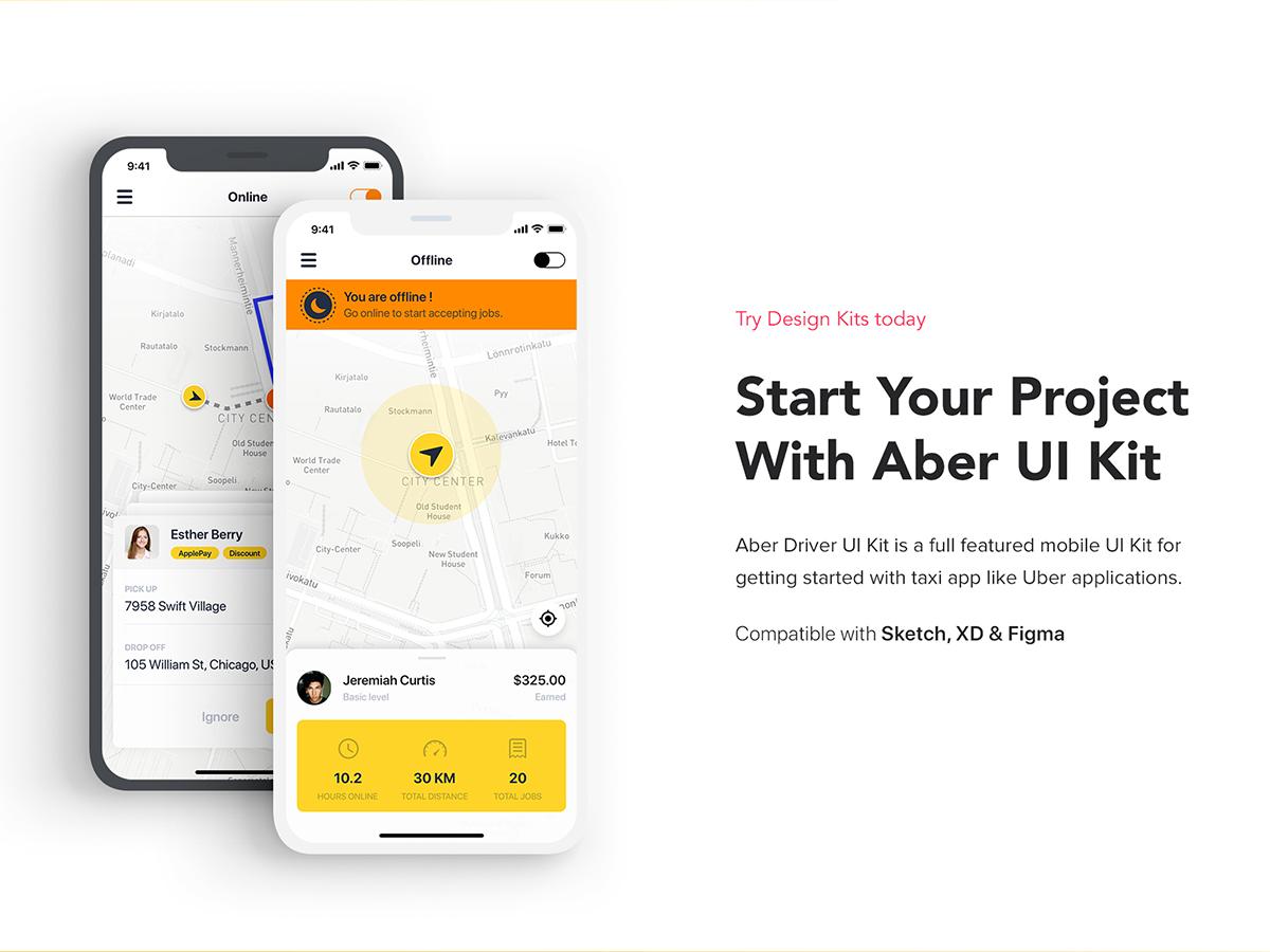 Aber Driver Booking App UI Kit - UpLabs