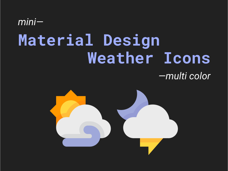 Mini material design weather icons multi color uplabs for All weather material