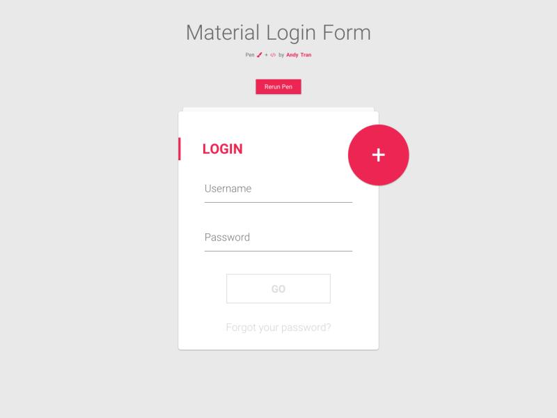 Material Login Form Uplabs