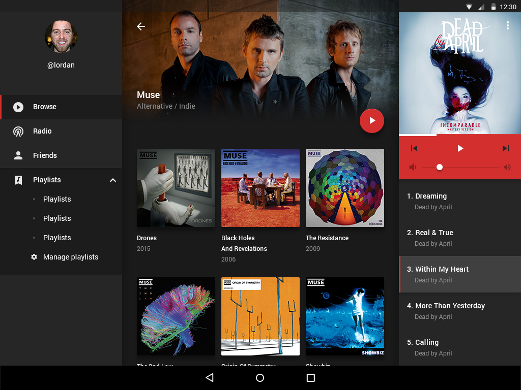 Music UI kit for Android tablet - UpLabs