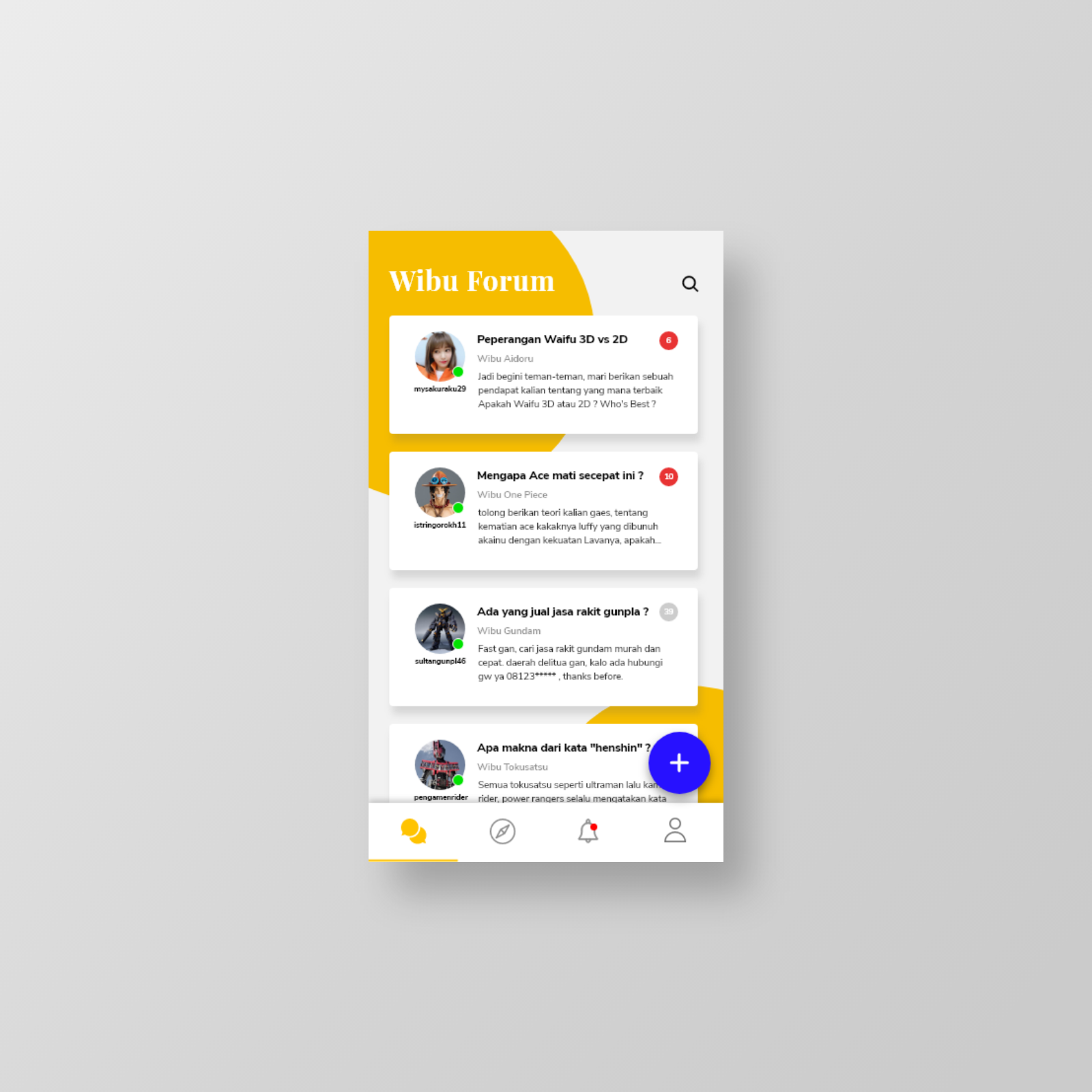Thread Exploration UI Design - Wibu Forum App - UpLabs