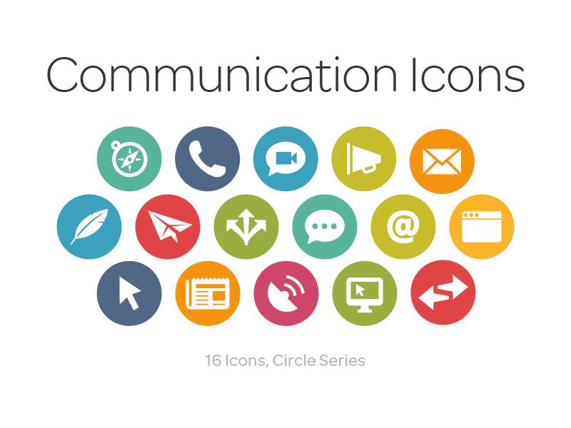 Communication Icons Circle Series Web
