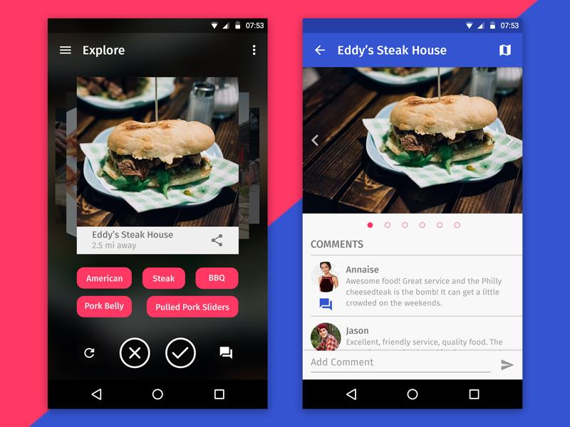 restaurant finder android uplabs. Black Bedroom Furniture Sets. Home Design Ideas