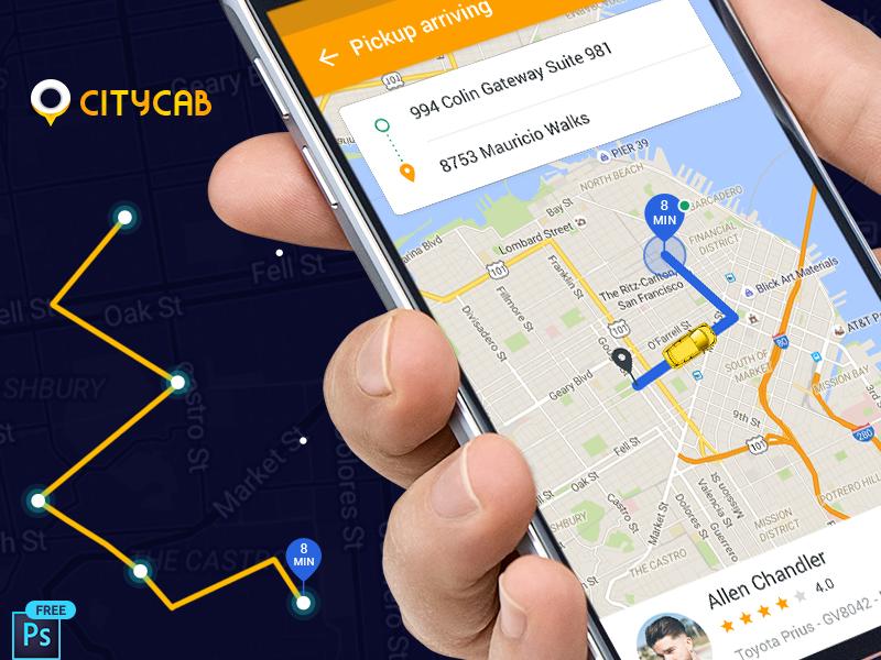 Download free Uber like Taxi booking app UI kit - UpLabs
