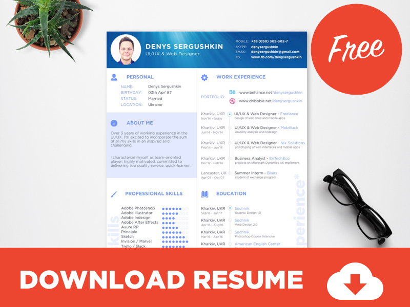 Free Resume Template Download Psd Sketch Uplabs