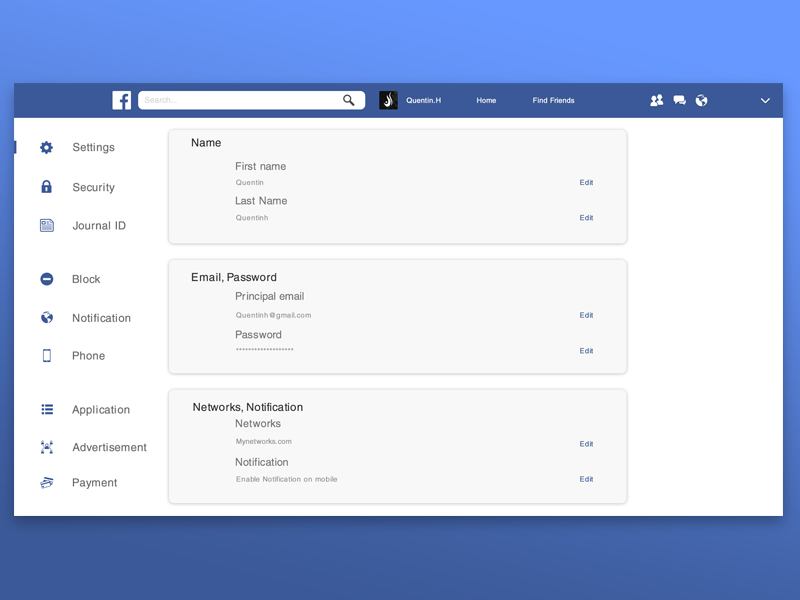 Facebook Redesign Settings Uplabs