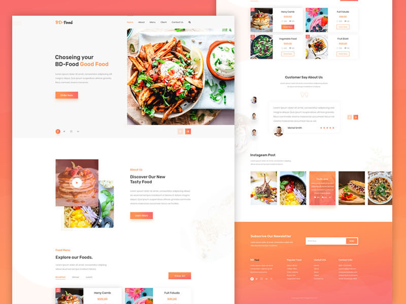Food Restaurant Landing Page Uplabs