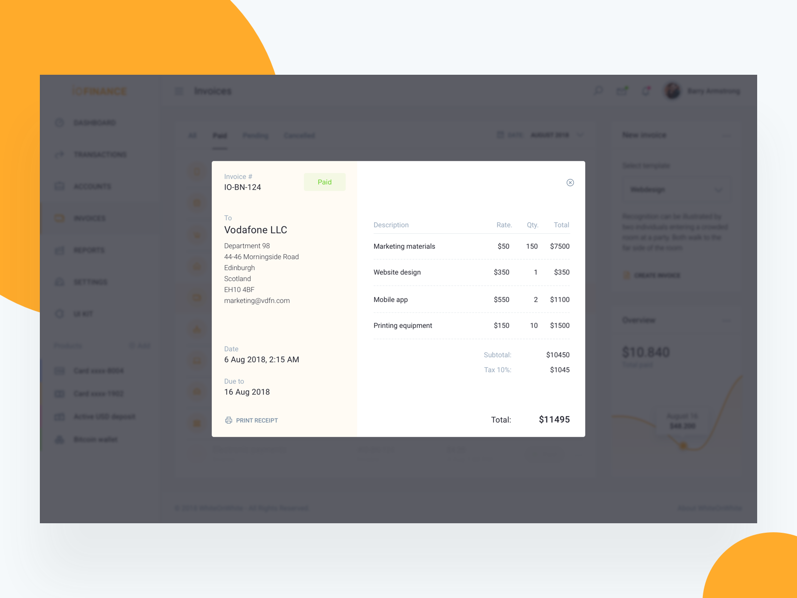 Invoice Template Iofinance Ui Kit Uplabs