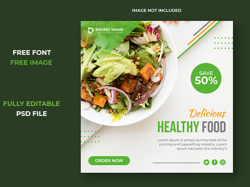 Food And Restaurant Social Media Post Square Template Design Uplabs