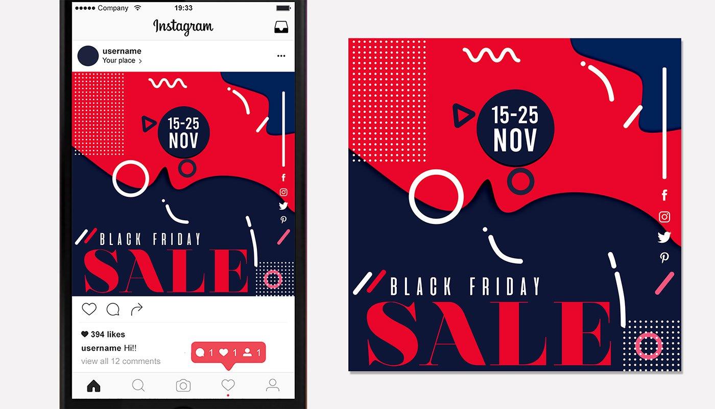 Black Friday Sale Social Media Instagram Post Template Uplabs