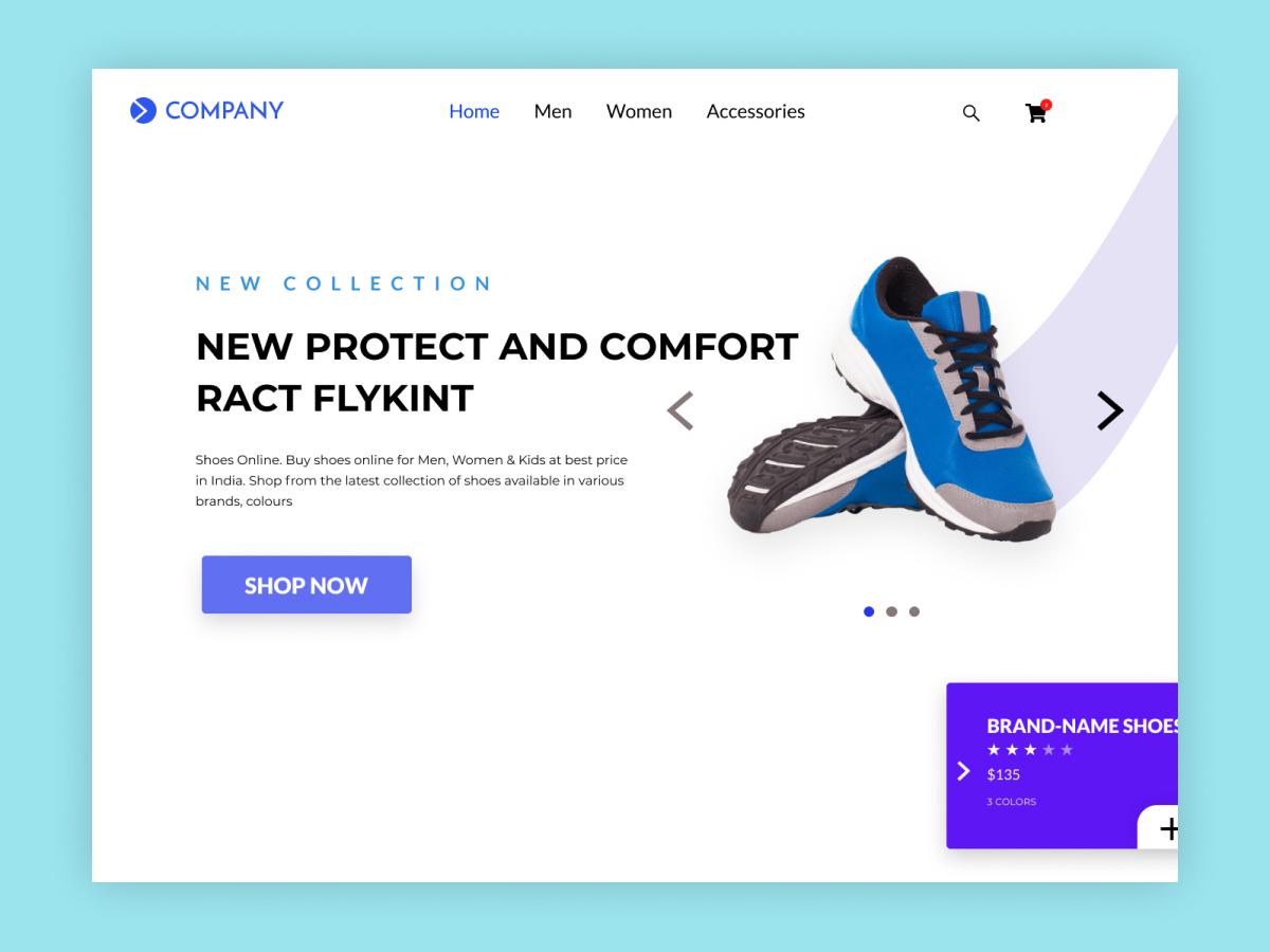 Shoe Company Header Design Uplabs