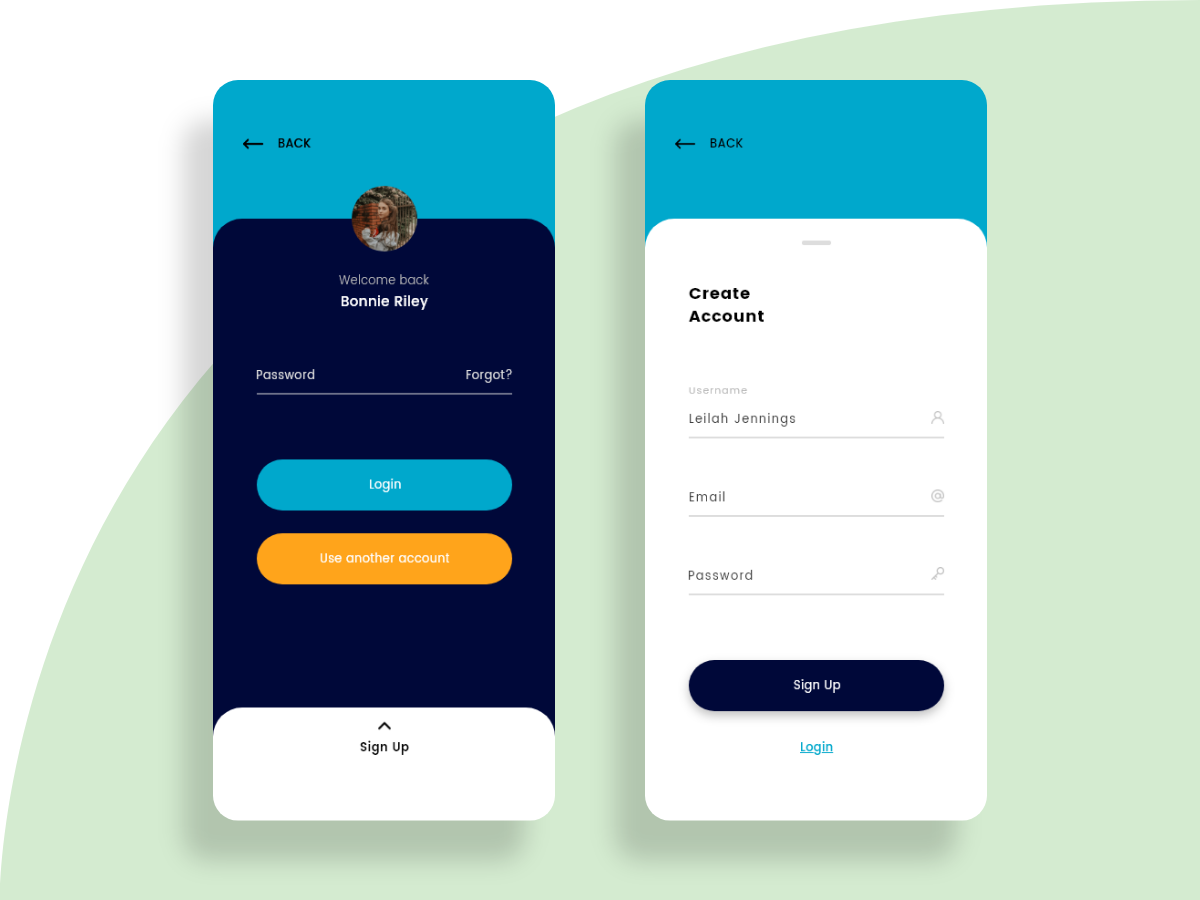 Login and Sign Up screens for mobile app | Search by Muzli