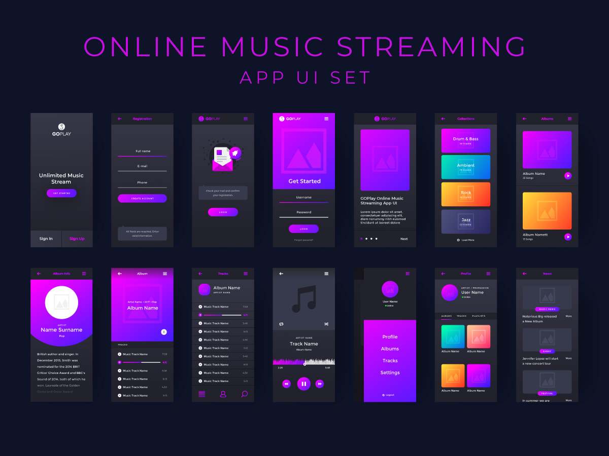 Music app UI set for online music streaming - UpLabs