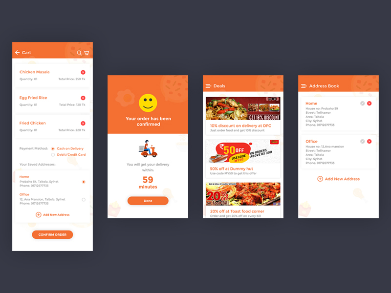Food Delivery App UI Kit (PSD + Adobe XD + Sketch App) - UpLabs