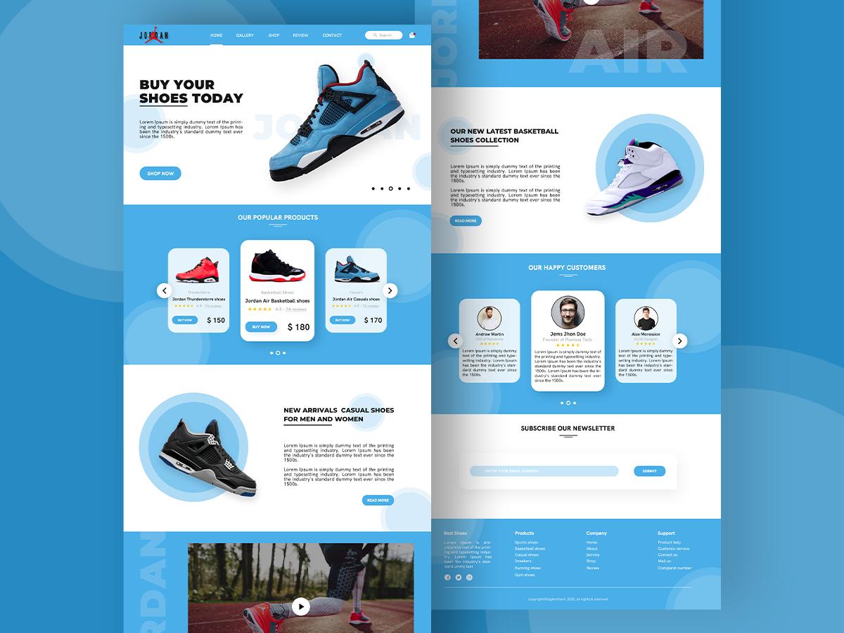 Jordan shoes landing page website
