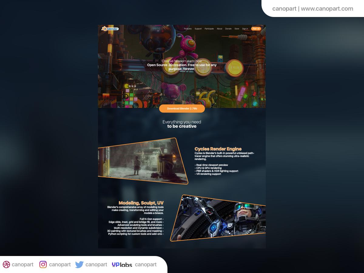 Landing Page Blender Software - UpLabs