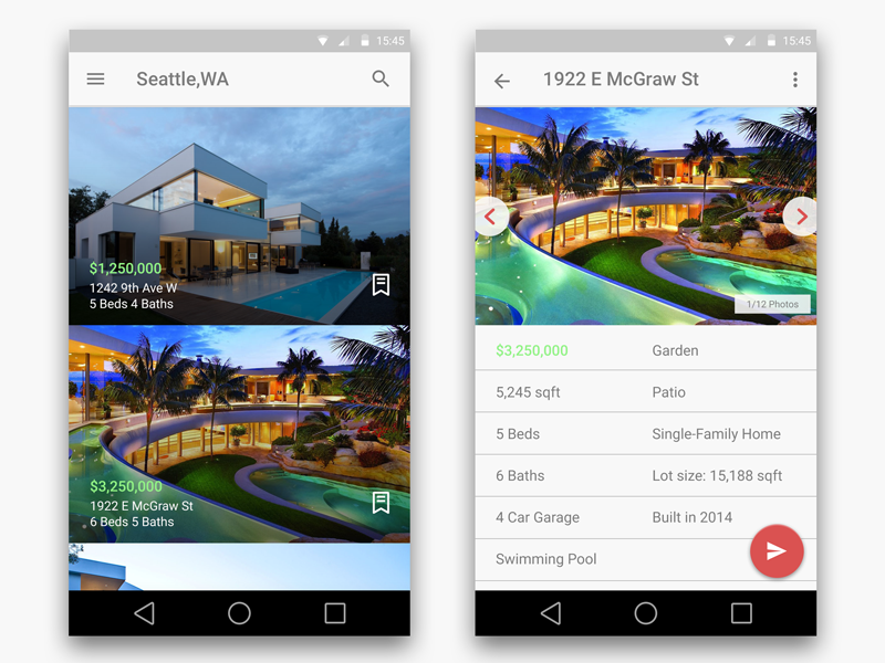 Real Estate App Android Uplabs