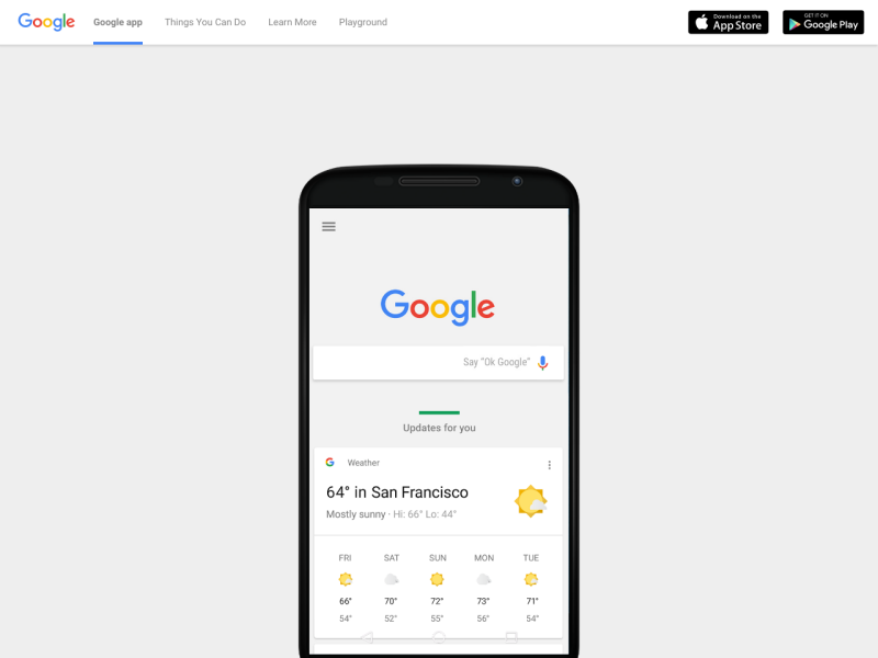 The Google App Landing Page Uplabs