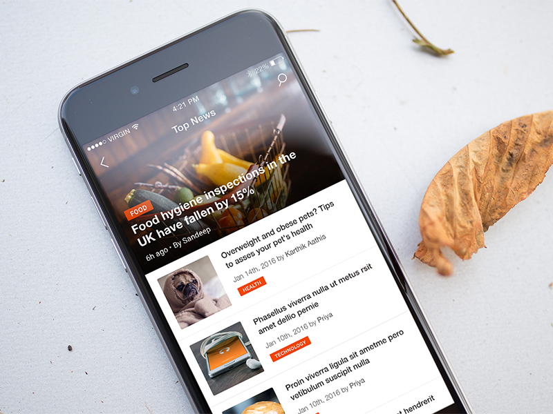 News app - iOS UI - UpLabs