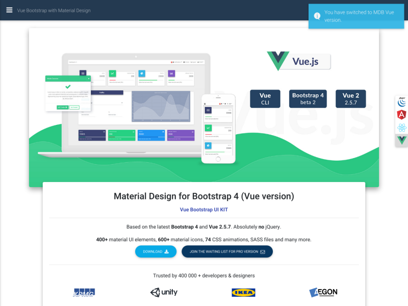 Vue Bootstrap Material Design Kit - Up