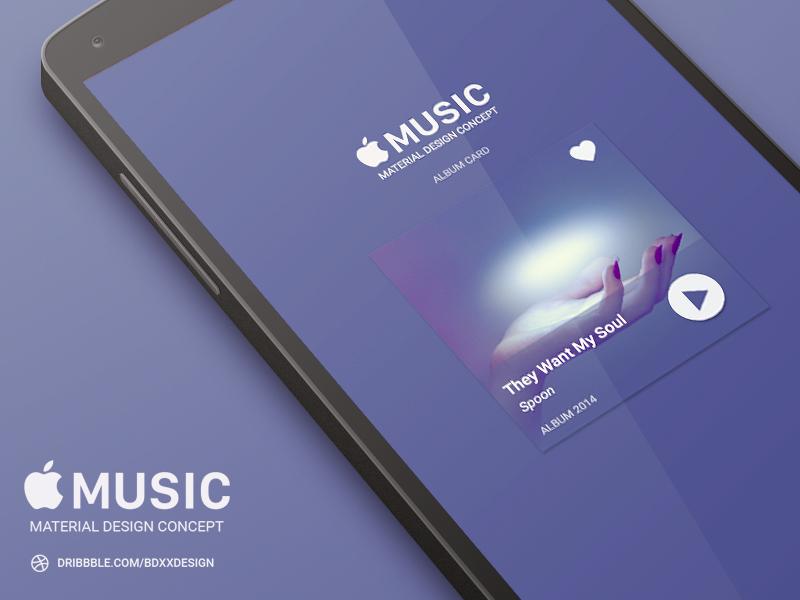 Apple Music Quot Album Card Quot Material Design Uplabs