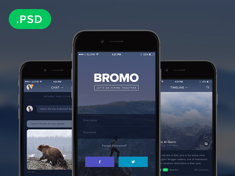 Bromo social mobile app template uplabs for Mobile app privacy policy template